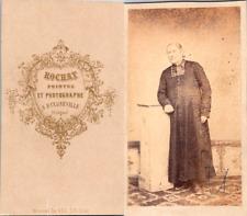 Rochat, Bulgnéville, Vosges, Prêtre en soutane Vintage CDV albumen carte de visi