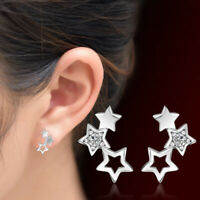 925 Sterling Silver Stud Earrings Crystal Star Design Women Fashion Jewelry