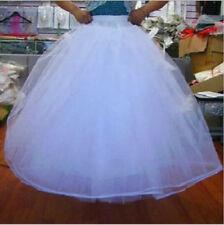White 6-Layer/8-Layer No Hoop Tulle Petticoat Wedding Gown Crinoline Skirt Slip*