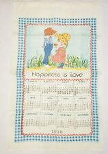 Vintage Happiness Is Love 1978 Calendar Linen Kitchen Dishtowel Tea Towel 16x26""