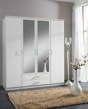 SlumberHaus German 'Berlin' 4 Door & 2 Drawers White and Mirror Door Wardrobe