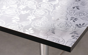1.5mm Thick Clear Plastic Floral Embossed Transparent Rose Leaf Table Protector