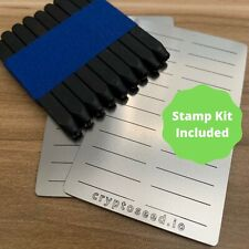 Crypto Seed Stamp Kit - 2x Steel Plate for Word Seed, Engraving Tool, & Seal
