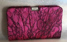 Note Book Style Satin Fuschia Pleated party Clutch bag with Lace Design & chain