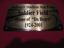 SOLDIER FIELD   Stadium seat PLAQUE HOME OF THE BEARS