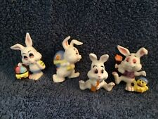 4 Easter Bunny Rabbits Eggs Carrot Chick Painting Basket Vintage Ceramic