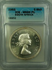 1953 South Africa Silver 5 Shillings Coin ICG MS-66 Proof Like KM#52