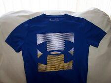 Boys Under Armour Royal Blue Short Sleeve BIG LOGO Shirt Medium LOOSE FIT