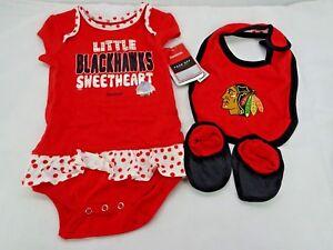 Chicago Blackhawks 3 Piece Set Infant Size 24 Months 24M Bib Girls T3
