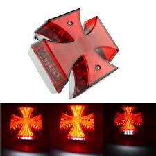 """4 3/4"""" Cross Red LED Tail Brake License Plate Light Lamp Bobber Chopper Custom"""