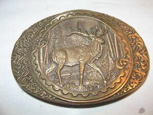 Beautiful Solid Brass Elk Belt Buckle - Award Design Medals