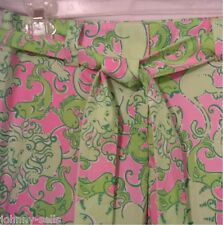 Lilly Pulitzer 0 Tricia Capri Phipps Fried Catfish Pink Green Pants $155 NEW