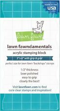 "Lawn Fawn CLEAR ACRYLIC STAMPING BLOCK  ~ 3"" x 6"" with grip & grid ~ 1/2"" thick"