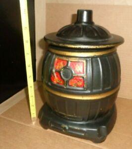 NICE McCoy Pottery Pot Belly Stove Cookie Jar 10in Black Vintage Canister Oven