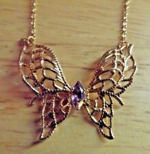Lind 14 KGE Gold Butterfly Necklace with Purple Lavender stone