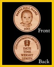20 Personalized Engraved Wood Commemorative Birth Coins Baby gift announcement