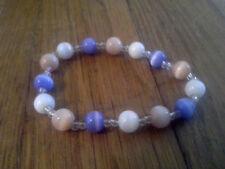 southwest jubilee peach white indigo Hand Crafted Stretchy Glass Beaded Bracelet
