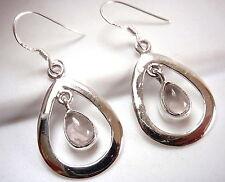 Dangling Rose Quartz Earrings in Teardrop Hoop 925 Sterling Silver Dangle Drop
