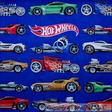 BonEful Fabric FQ Cotton Quilt Blue Race CAR Hot Wheels Collector Sport Boy Flag