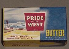 Pride of the West Butter 1 LB. Unused Carton Conrad Creamery Conrad & Valier Mt.