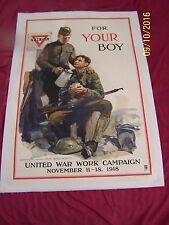 Original WW1 Y.M.C.A.Poster, FOR YOUR BOY, Arthur Brown, United War Work-1918