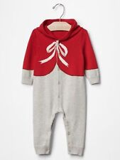 GAP Baby Boy / Girl Size 6-9 Months Red Bow Festive One-Piece Sweater Romper