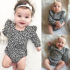 UK STOCK Baby Romper Leopard Print Cotton Bodysuit Newborn Toddler Baby  Girls 5008f5f2f3c9