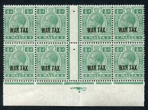 Malta SG83 KGV 1/2d WAR TAX U/M Gutter Block of 8 Cat 18 pounds
