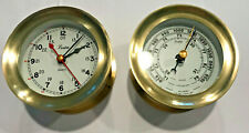 Pair of Vintage 1983 Boston Chelsea Brass Wall Mount Maritime Clock & Barometer