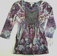 Style & Co. Blouse Beaded Tunic Purple Paisley Dip Dyed 3/4 Sleeve Top Size XS