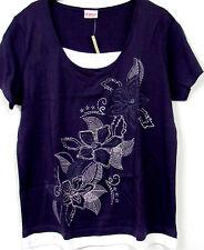 Neuf Femmes Manches Chemise Tunique Violet Blanc Bio Purewear à Double Optique