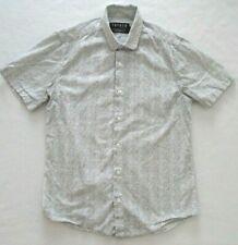 Men's Topman Black & White Geometric Design SS Button Front Shirt US Small