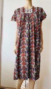 Vintage 70s Prairie Dress Peasant Smock Tunic Dress Cottage Core BOHO