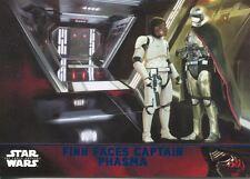 Star Wars Force Awakens S1 Blue Parallel Base Card #66 Finn Faces Captain Phasma