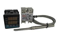 Digital PID Temp Controller w SSR and High Temp Probe (1250 ℃, 2 Alarms)