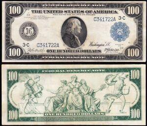 NICE Bold & Crisp VF 1914 $100 Philadelphia Federal Reserve Note! FREE SHIP! 722