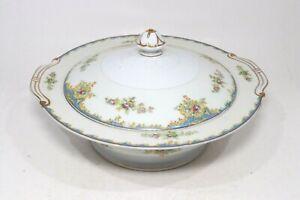 Hinode China Covered Vegetable Serving Dish Vintage Japan White Floral Blue Trim