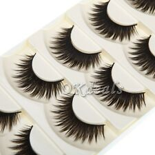 Pure Hand-made 5 Pairs Black False Eyelashes Thick Long Voluminous Fake Lashes
