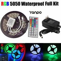 5M RGB 5050 Waterproof LED Strip light SMD + 44 Key Remote 12V US Power Full Kit