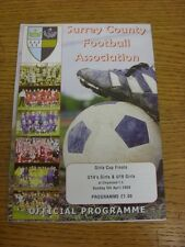 05/04/2009 Football Programme: Surrey County Girls Cup Finals - U14, U16 [At Chi