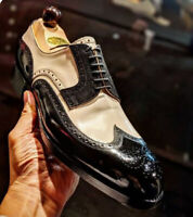 Handmade Men Two Tone Wing Tip Brogue Lace Up Derby Shoes, Real Leather Shoes