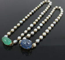 Pair of Vintage 15ct Sapphire, 8ct Emerald & Cultured Pearl 14K Gold Necklaces