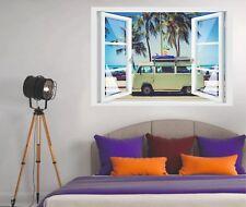 Wandtattoo Fenster 3D Optik Wandsticker Aufkleber Deko Bild - Kult Bulli Camper