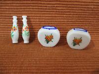 Miniature Vases Dollhouse Vintage White Porcelain Flowers 1:12 Scale Set of 4