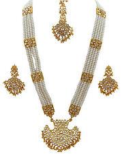 Jwellmart India Gold Polish Faux Pearl Kundan Stone Rani Haar Style Neclace Set