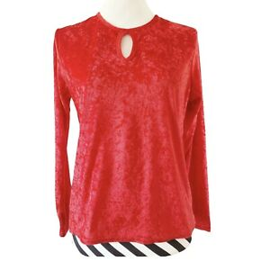 VTG 90s Y2K YESSICA C&A 12 Top Peephole Front Red Crushed Velvet Velour Women's