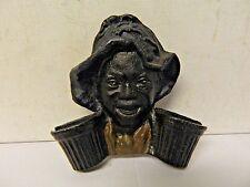 Cast Iron Double Match Safe Holder Wall Mounted Black Americana Figure