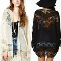 UK Womens Lace Crochet Summer Beach Kimono Cardigan Coat Jacket Plus Size 8-24