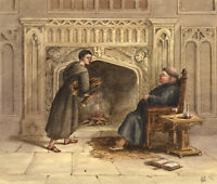 G.P., Hot & Cold: Corpulent Monk by Fireplace – c.1880s watercolour painting