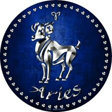 """Aries Ram Zodiac Sign 12"""" Round Metal Sign Horoscope Astrology Home Wall Decor"""